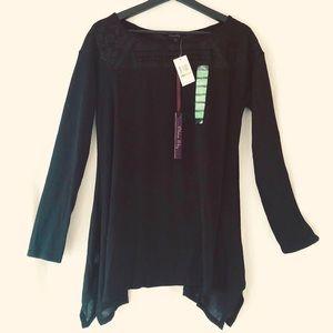 OLIVIA SKY NWT Black Sheer Sweater  w/ Lace